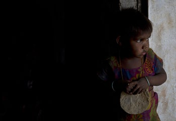 A young girl in Madkheda, Madhya Pradesh state, India.