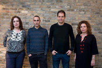 From right: Tali Gazit, Ram Fruman, Ben Lev-Kadesh and Michal Shalev-Reicher, the founders of the secular education movement.
