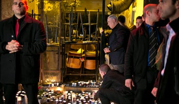Netanyahu at the site of a shooting that killed two and wounded seven in Tel Aviv, January 2, 2016.