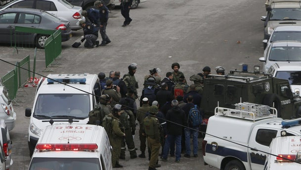 Scene of the shooting attack outside the Cave of the Patriarchs, Hebron, January 3, 2016.
