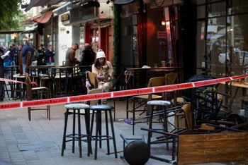 Scene of a shooting attack in Tel Aviv that left two dead. January 1, 2016.