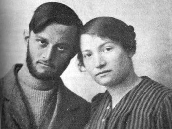 Sarah Aaronsohn and Avshalom Feinberg, shown with their heads together. Some historians assume he was Sarah's paramour, but he became involved with her younger sister Rivka.
