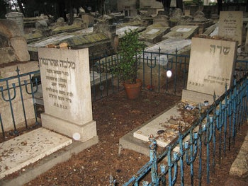 "Grave of Sarah Aaronsohn, right, and of her mother Malka Aaronsohn, left, at the cemetery in Zichron Yaakov, Israel. Sarah's gravestone merely says ""Sarah,"" no surname; it shows her dates of birth and death."