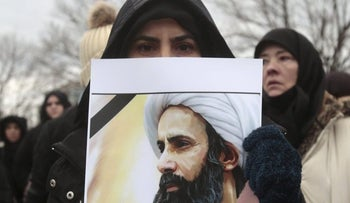 Americans demonstrating against the execution of radical Shi'ite cleric Nimr al-Nimr by Saudi Arabia on January 2, 2016.