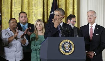 President Barack Obama wipes a tear from his cheek as he speaks on gun control at the White House, Tuesday, Jan. 5, 2016.