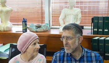 Right-wing extremist Mordechai Meyer's parents, Sarah and Gedalia Meyer, at a press conference in August 2015.