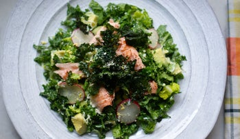 Salmon, kale and avocado salad with kale chips.