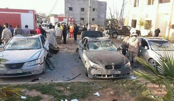 The site of the truck bomb explosion at a police training center in Zliten, Libya, January 7, 2015.