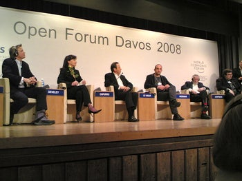 Joseph Weizenbaum, 5th from the right, at the World Economic Forum in Davos, Switzerland, in 2008.