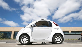 Google's new self-driving prototype car at the Google campus in Mountain View, California, May, 2015.