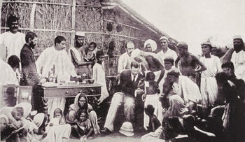 Photograph showing Waldemar Mordecai Wolf Haffkine (1860-1930), bacteriologist with the government of India, inoculating a community against cholera in Calcutta, March 1894.