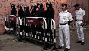 A file photo of Egyptian police standing guard in Cairo, Egypt, October 31, 2015.
