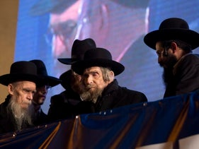 Rabbi Aharon Leib Shteinman, center, at an ultra-Orthodox rally in Bnei Brak, March 11, 2015.
