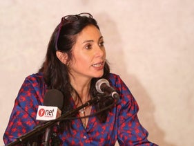 Culture and Sports Minister Miri Regev speaking at the Cinema South International Film Festival, at Sapir Academic College, June 9, 2015.