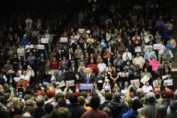 Republican presidential candidate Donald Trump speaks during a campaign stop at Winthrop University on Friday, Jan. 8, 2016, in Rock Hill, S.C.