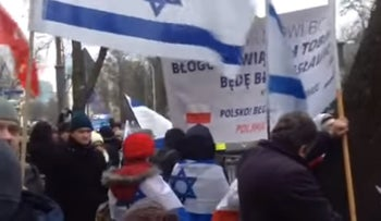 Christians and Jews march in support of Israel in Warsaw, January 10, 2016.