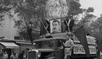 Seen in the Labor Day parade in Tel Aviv, 1949: A truck featuring the faces of Soviet Communist leaders Lenin and Stalin. The dictators had their supporters here too.