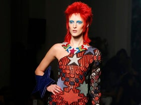 A Bowie-inspired design by Jean-Paul Gaultier, presented as part of his ready to wear Spring-Summer 2013 collection, in Paris.