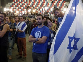 Zionist Union supporters in Tel Aviv, Election Day, March 17, 2015.