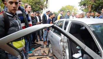 The car belonging to relatives of suspected terrorist Nashat Melhem after police searched it, January 10, 2016.