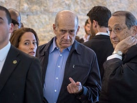 Former Israeli Prime Minister Ehud Olmert in the Supreme Court during deliberations on the Holyland case, on December 29, 2015.