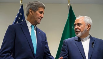 Secretary of State John Kerry meets with Iranian Foreign Minister Mohammad Javad Zarif at the United Nations headquarters, New York, U.S., September 26, 2015.
