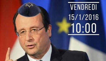 French president François Hollande wearing a kippah in a photoshopped Twitter image.