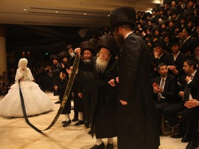 An illustrative image from a Hassidic wedding in Bnei Brak.