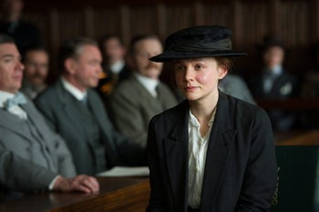In this image released by Focus Features, Carey Mulligan portrays Maud Watts, center, in a scene from 'Suffragette.'