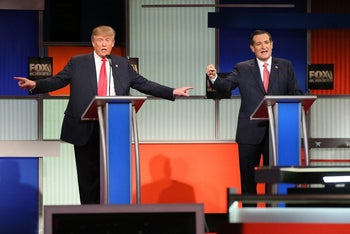 Republican presidential candidates Donald Trump and Ted Cruz participate in the Fox Business Network Republican presidential debate on January 14, 2016, in North Charleston, South Carolina.