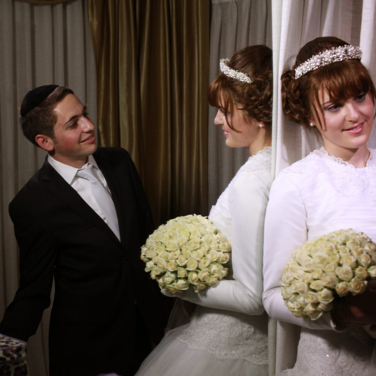 An illustrative image from a Lithuanian Haredi wedding in Jerusalem.