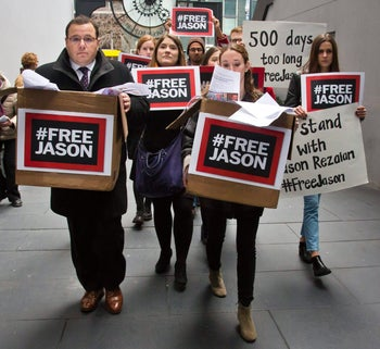 Ali Rezaian, the brother of Washington Post reporter Jason Rezaian, delivers with supporters a petition with 500,000 signatures to Iran's UN mission in N.Y. asking for the release of his brother.