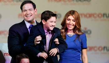Florida Sen. Marco Rubio and his family after announcing his presidential candidacy during a rally in Miami, Florida, April 13, 2015.
