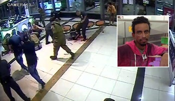 Video footage from the October 18, 2015 terror attack at the Be'er Sheva bus station, showing Zarhum being kicked while lying bleeding on the floor.