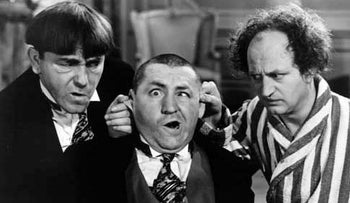 The Three Stooges, Moe Howard (left), Curly Howard, Larry Fine (right), 1938. There were six active Stooges, over the years: five of them performed in the emsemble's movie shorts. Moe and Larry were always present, until the final years of the ensemble's run of more than forty years.