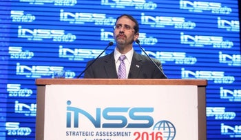 United States Ambassador to Israel Dan Shapiro at the Institute for National Security Studies (INSS) conference in Tel Aviv. January 18, 2016.