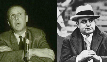 Sidney Korshak (left) on the book cover of Supermob by Gus Russo and Al Capone. Korshak defended members of Al Capone's crime syndicate.