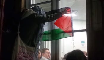 A screenshot of anti-Israel protesters at Kings College London.