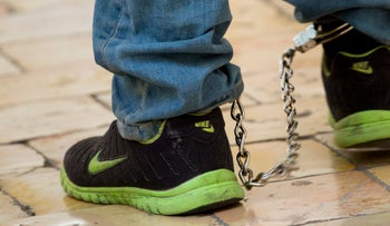 A close-up of leg cuffs on a person in a court in Jerusalem.