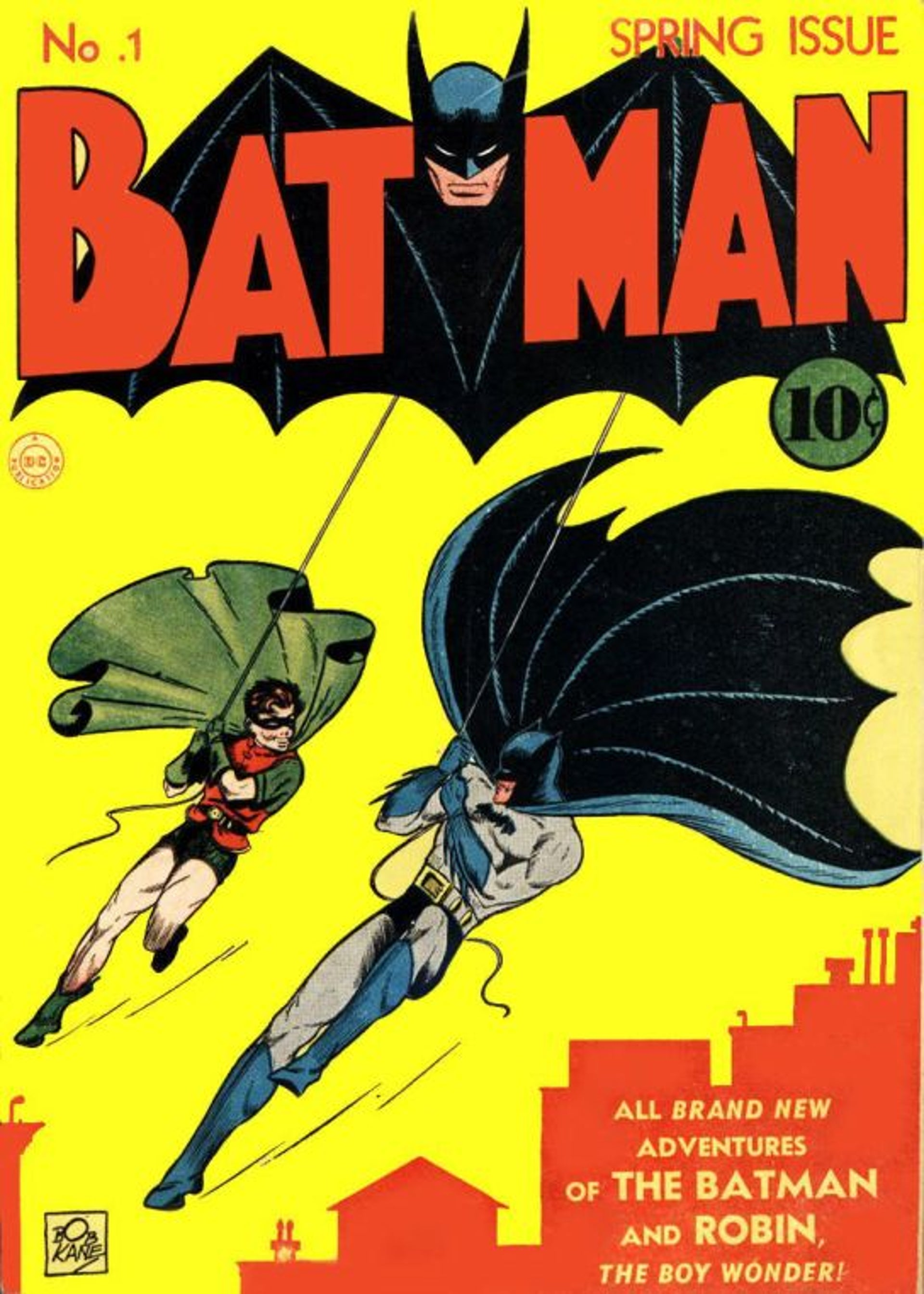 The first Batman cover from 1940 by Bill Finger and Bob Kane (Robert Kahn)