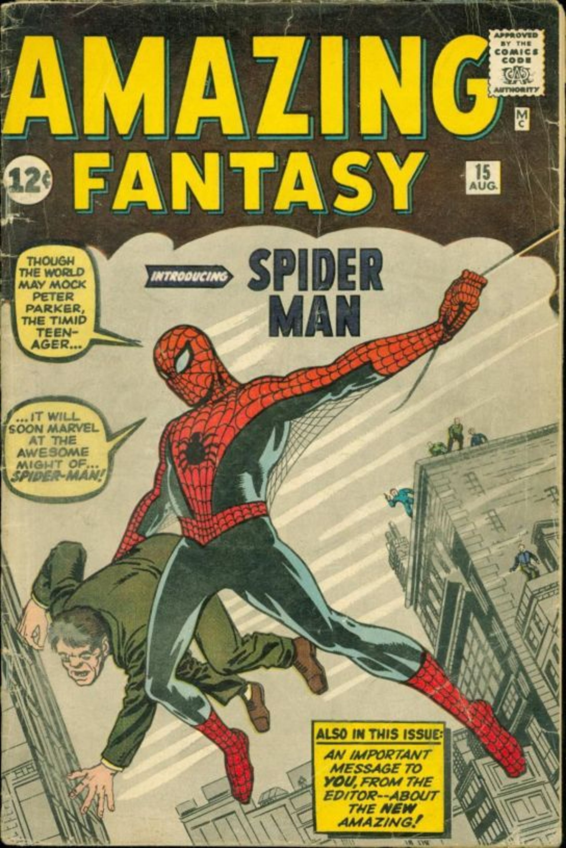 Spiderman circa 1962, by Jack Kirby and Stan Lee (Stanley Martin Lieber)