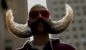 A study of men who work in hospitals found that the clean-shaven ones are more likely to harbor superbugs than men with facial hair. (Illustrative picture shows Mr. MJ Johnson promoting the National Beard and Moustache Championships in New York, November 6, 2015.)
