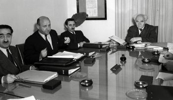 A cabinet meeting with Prime Minister David Ben-Gurion and Foreign Minister Moshe Sharett, 1949.