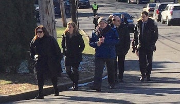 Mourners arriving at Young Israel of Scarsdale for the funeral of Dr. Robin Goldman in Scarsdale, New York, Jan. 22, 2016.