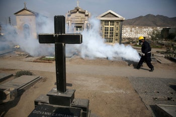 Fumigating to kill mosquitoes and prevent dengue, chikunguya and Zika virus, at El Angel cemetery, in Lima, Peru, January 20, 2016.