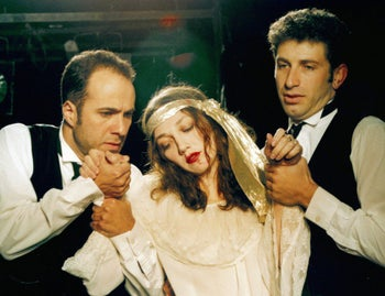 """Actor Mark Ivanir, right, with Dror Keren and Evgenia Dodina in Gesher's 1991 production of """"Rosencrantz and Guildenstern Are Dead."""""""