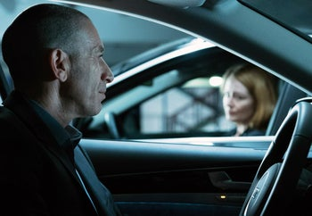 """Israeli actor Mark Ivanir and Miranda Otto in a scene from the fifth episode of the fifth season of """"Homeland."""""""