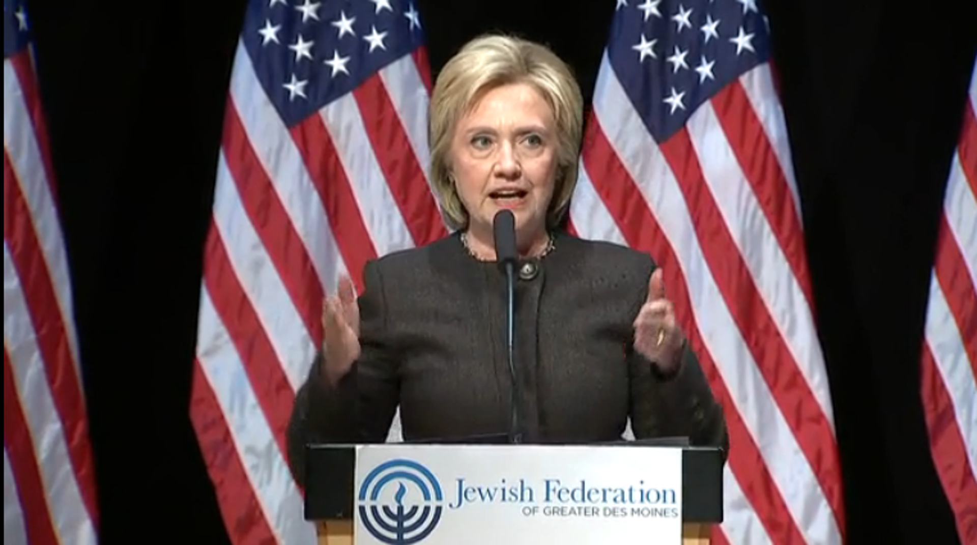 Hillary Clinton addressing the Jewish Federation of Des Moines