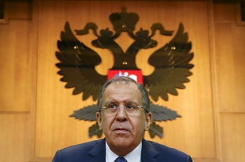 Russian Foreign Minister Sergei Lavrov leaves after giving a news conference in Moscow, Russia, January 26, 2016.
