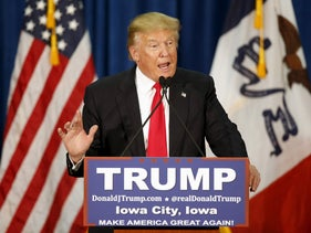 Donald Trump speaks at a campaign rally at the University of Iowa in Iowa City, Iowa, January 26, 2016.